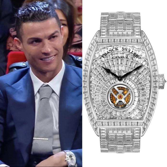 Cristiano Ronaldo wearing a Franck Muller watch