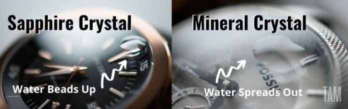 Water test sapphire crystal vs mineral crystal