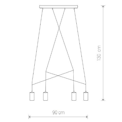 medidas Lámpara techo Imbria 4L