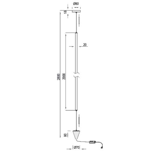 medidas Lámpara de techo Vertical