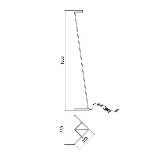 medidas Lámpara de pie Vector