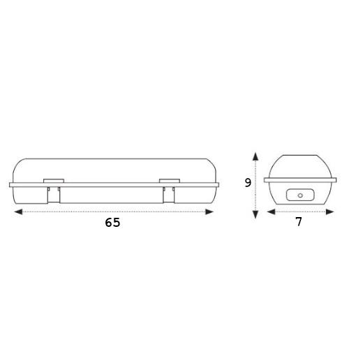 medidas pantalla estanca ip65 1x60cm