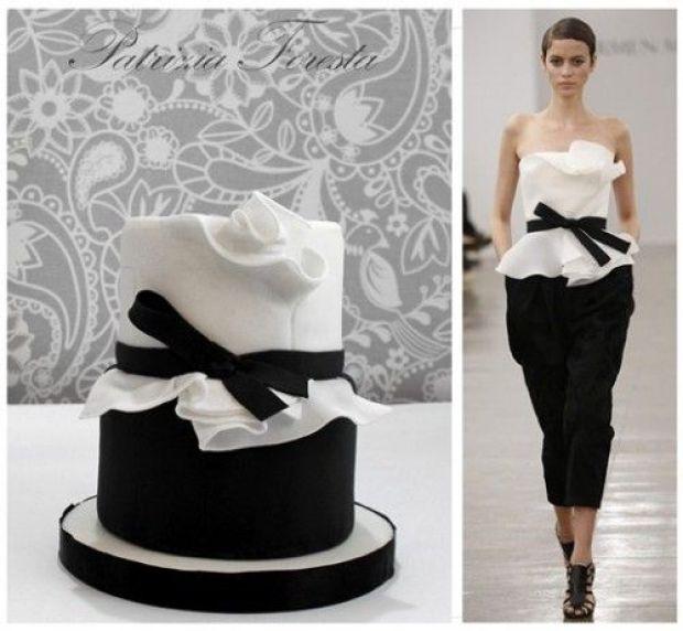 Pastel fondant blanco y negro tutorial