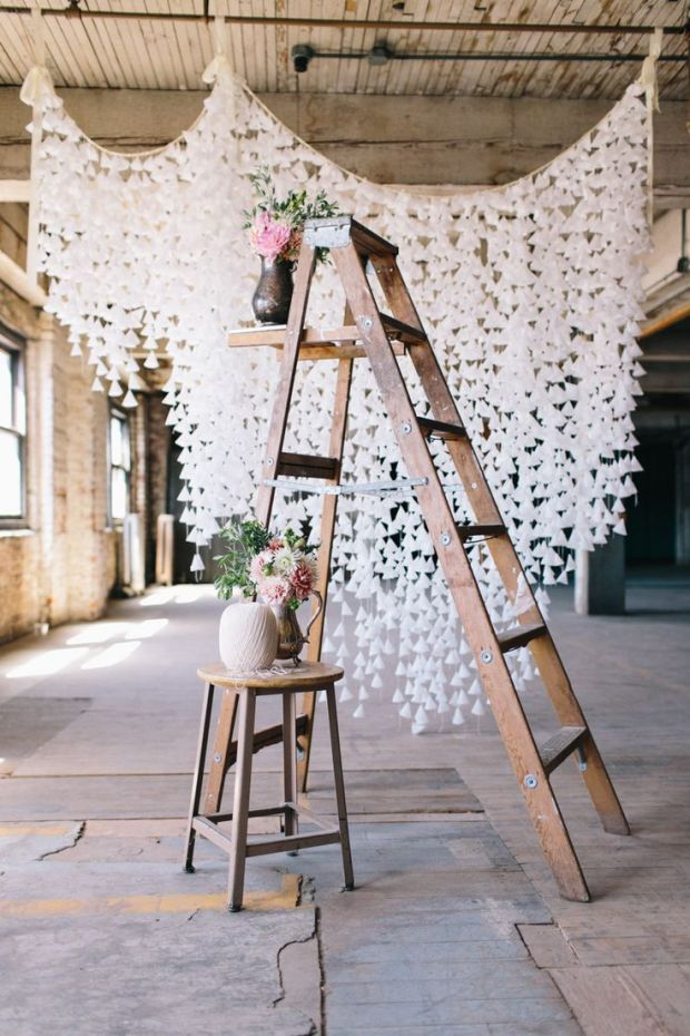 DIY-Wax-Paper-and-Vintage-Ladder-Wedding-Backdrop