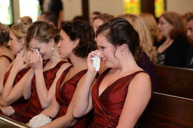 Rustic-Farm-Wedding-ceremony-crying-bridesmaids