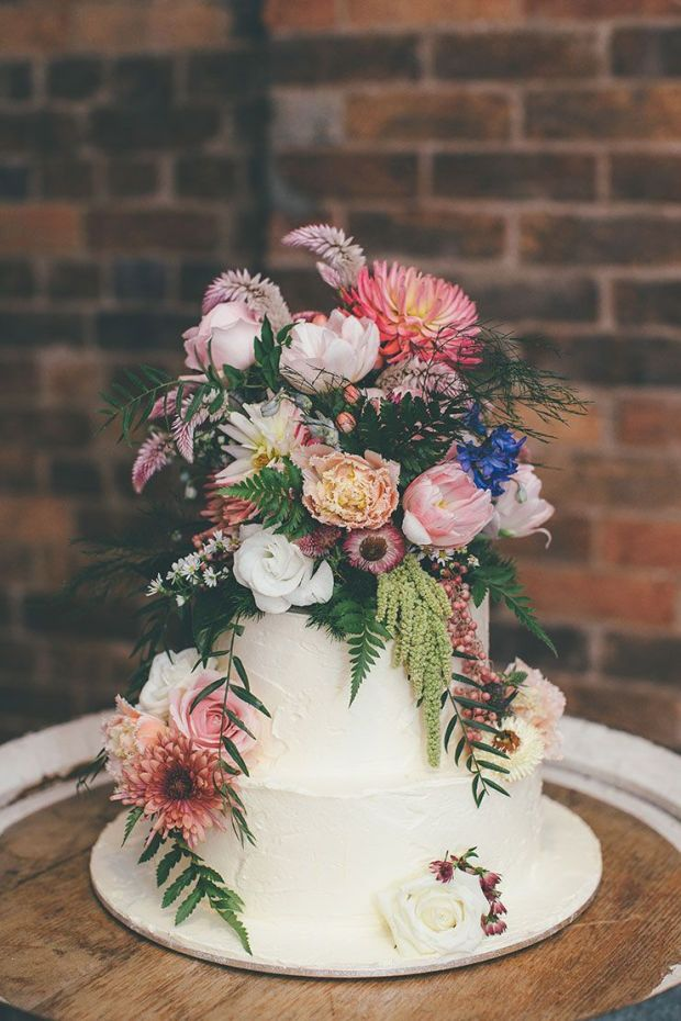 Bohemian-Luxe-Wedding-White-Cake-Colourful-Flowers