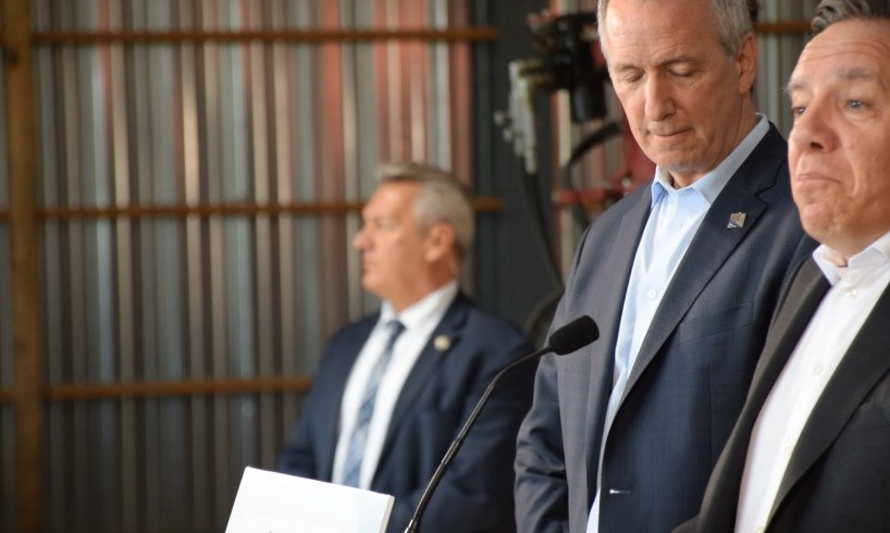 M. François Legault, premier ministre du Québec et M. André Lamontagne, ministre de l'Agriculture, des Pêcheries et de l'Alimentation