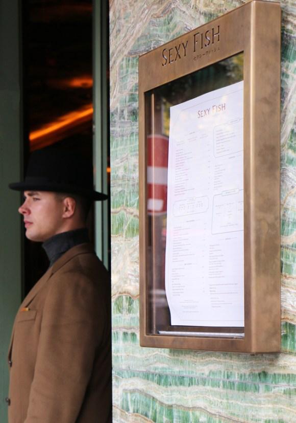 Sexy Fish Restaurant Menu and Doorman © Lavender's Blue Stuart Blakley