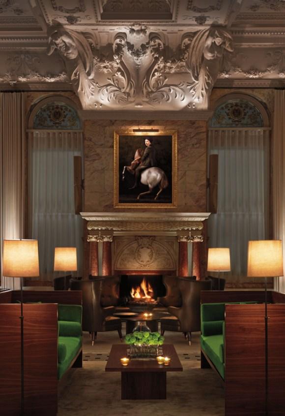 The London Edition Hotel Fireplace © Lavender's Blue Stuart Blakley
