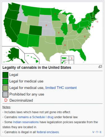 Pot legality by state