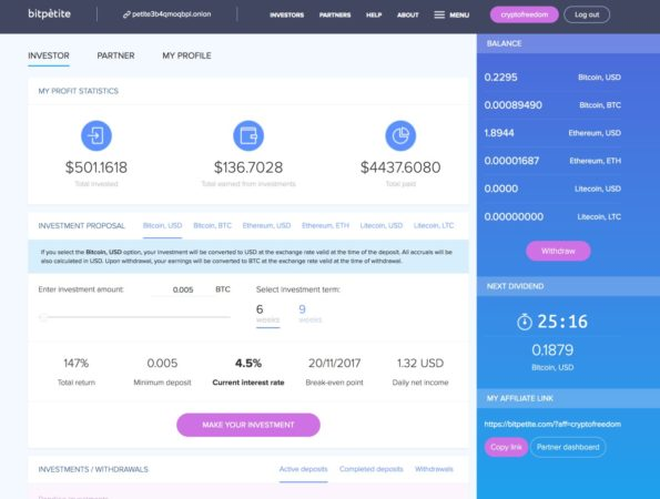 BitPetite Dashboard