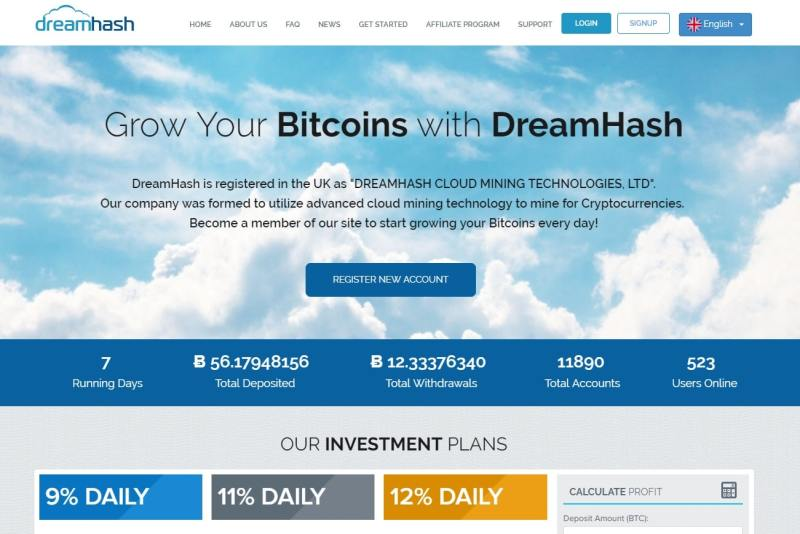 A screencap of the DreamHash website, a Cloud Mining Scam