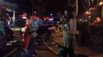 Night market vientiane laos