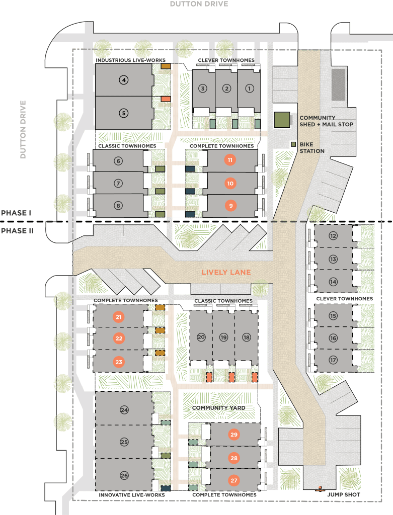 Site plan of Lively Lane with labels on The Complete Townhome units