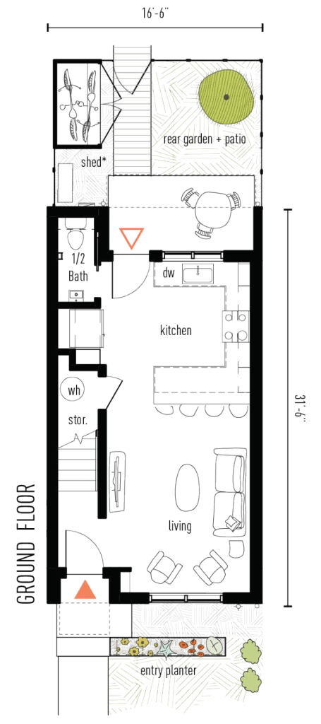 Ground floor plan of The Clever Townhome