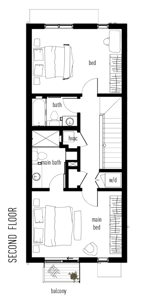 Second floor plan of The Classic Townhome