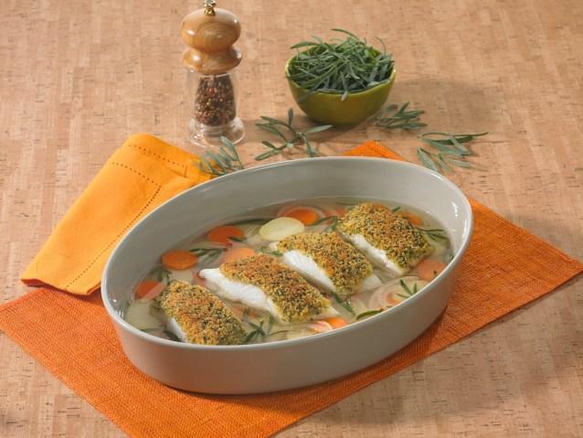 Filet de lieu jaune en nage, croute gratinée à la criste-marine / restaurant l'Armen à Brest.