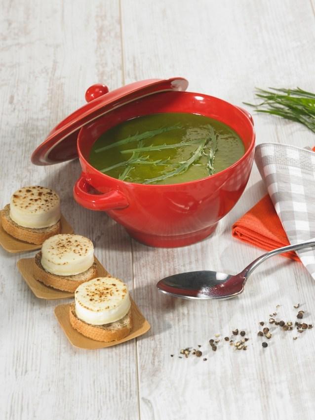 Soupe de plantain, crottin de chèvre sur toast / restaurant l'Armen à Brest.