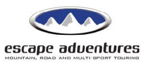 advertisement for Escape Adventures mountain, road and multi-sport touring