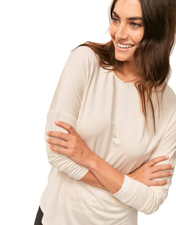 Calvin Klein tričko LS Curve Neck Top 101-1