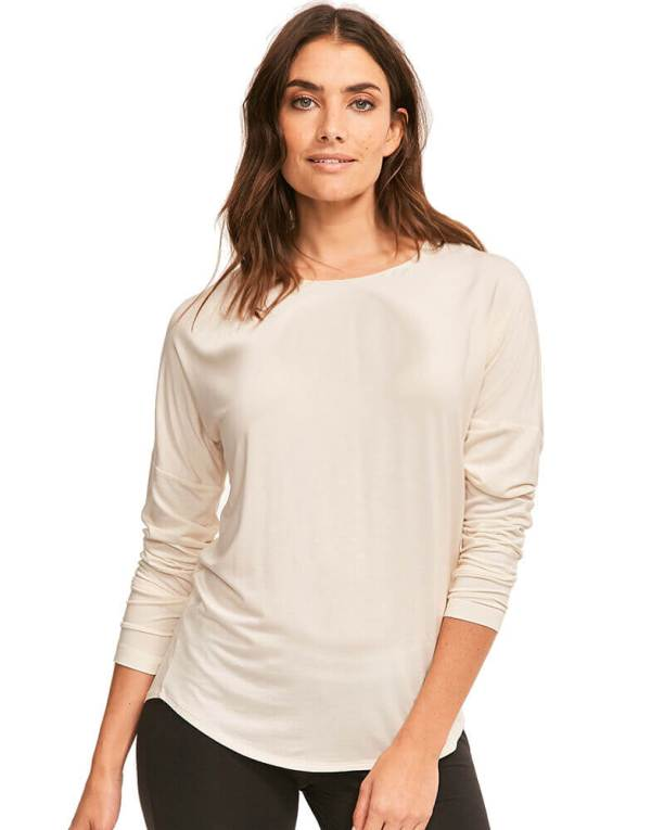 Calvin Klein tričko dámske LS Curve Neck Top 101-2