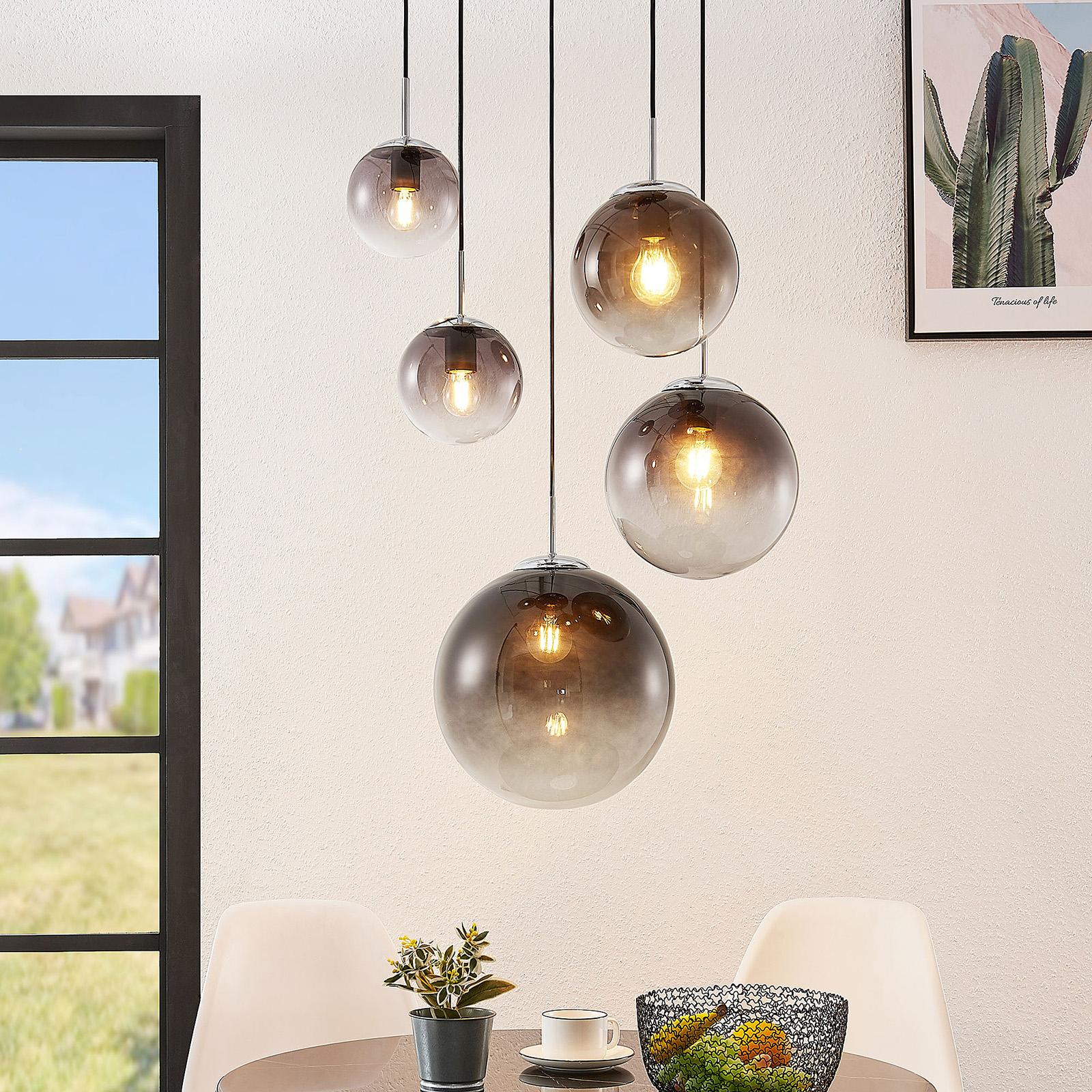 lindby robyn suspension en verre a 5 lampes luminaire fr