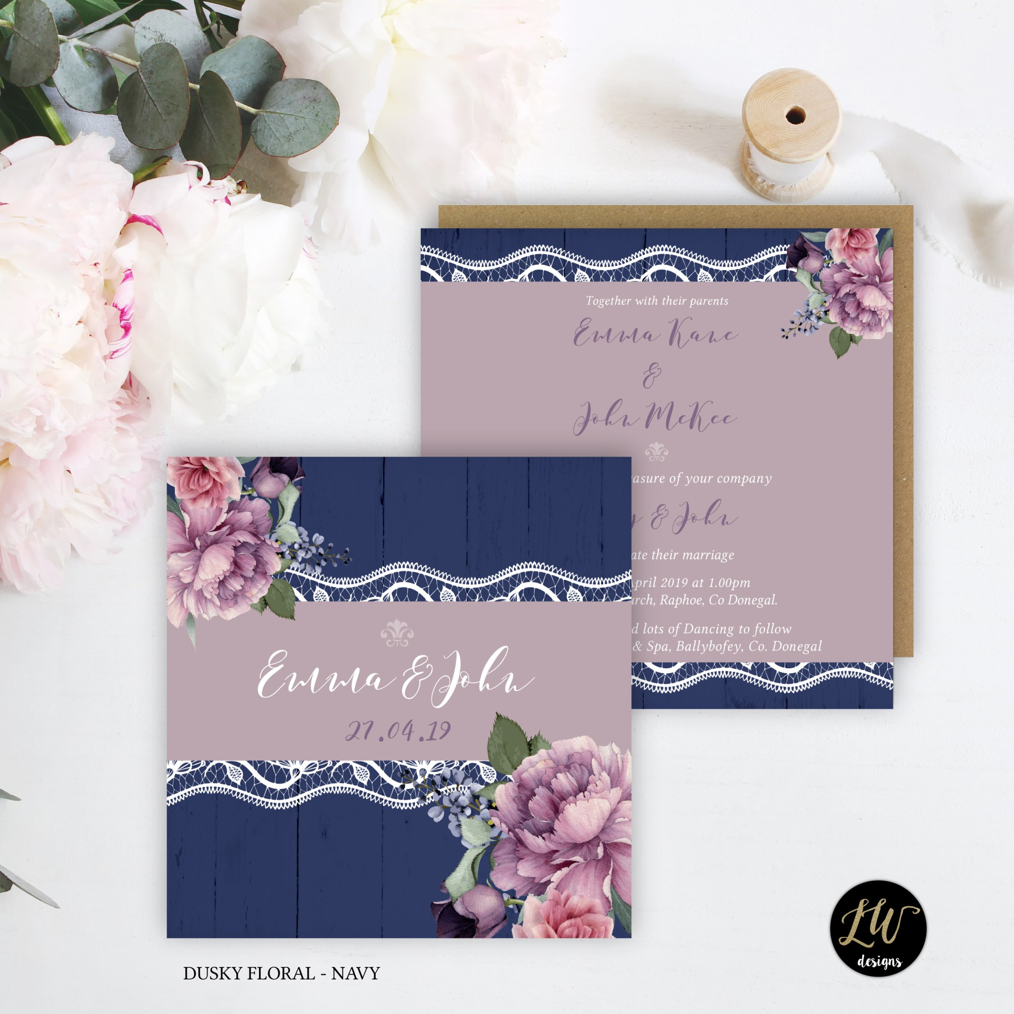 IH Collection Dusky Floral Navy