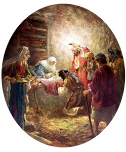 Christ child born in a manger.