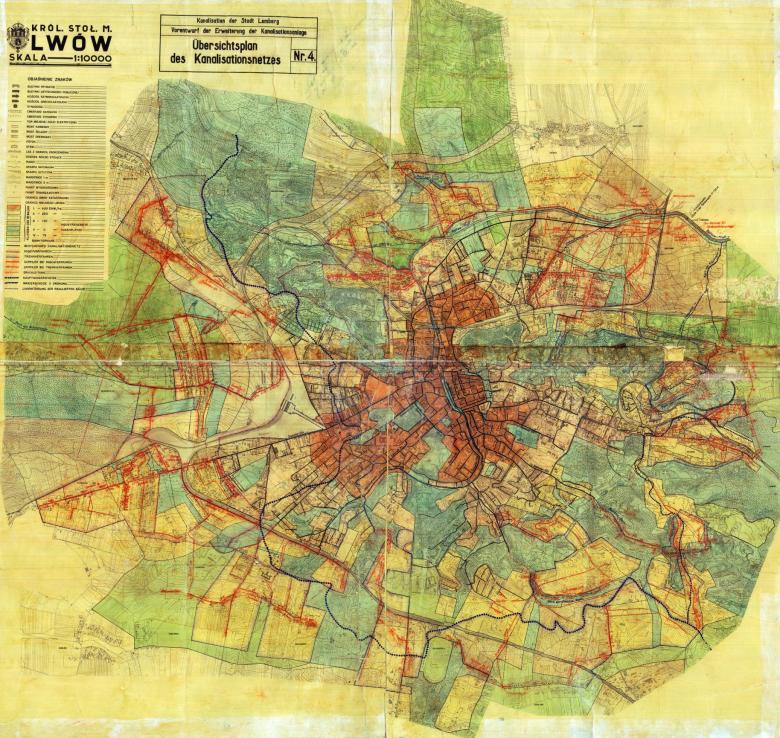 Mapa ścieków Lwowa z 1942 roku z zaznaczonym działem wodnym