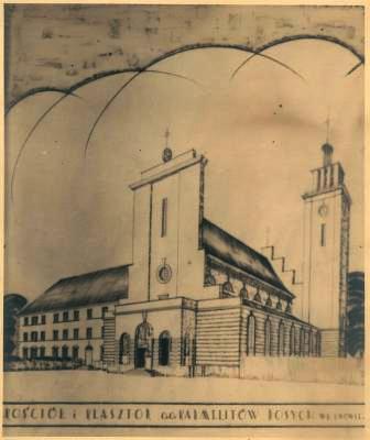 Pierwotny projekt świątyni z wieżą, która nie została zbudowana