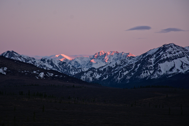 Alpenglow on mountains - Denali National Park & Preserve