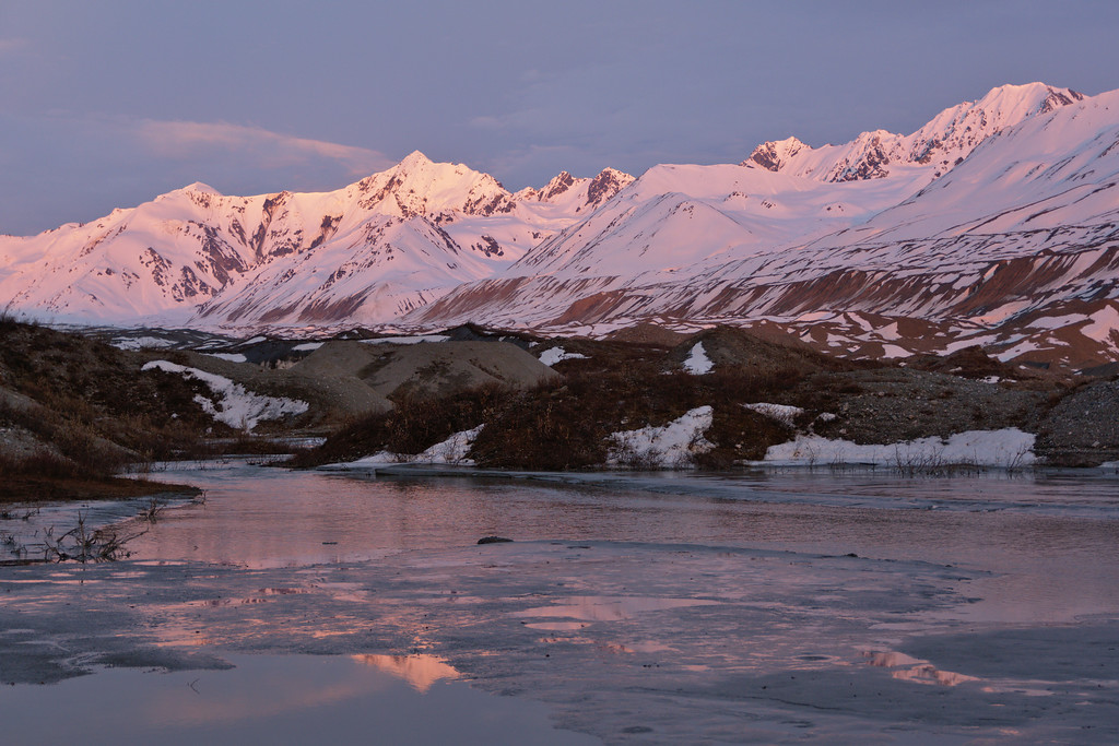 Looking at the Canwell Glacier over Miller Creek at sunset in early June.