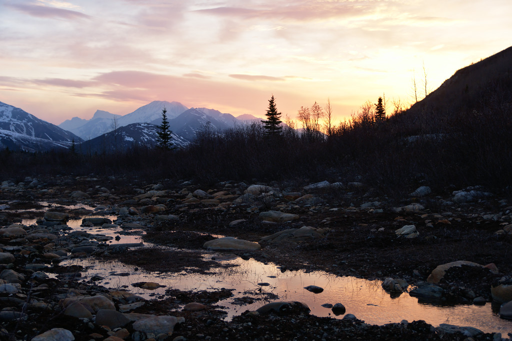 Sunset along one of the drainages of Miller Creek