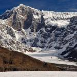 Mt. Shand stands nearly a vertical mile above the Black Rapids Glacier in the Eastern Alaska Range.