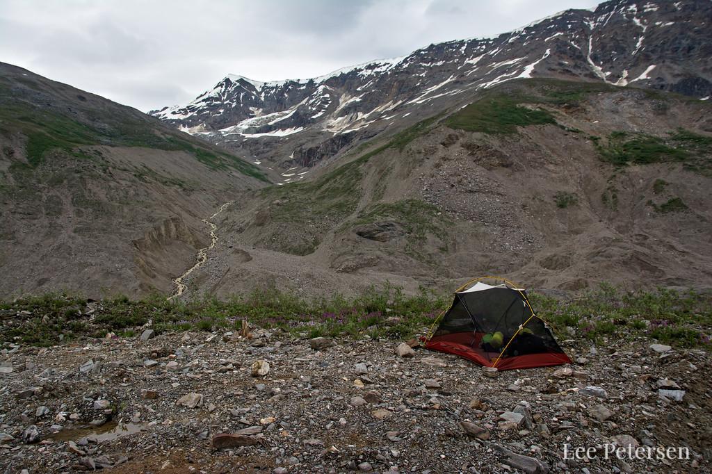The MSR Hubba Hubba on the Castner Glacier moraine