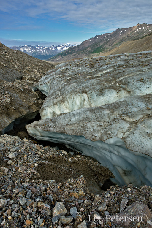 Deep canyon where the moraine met bare ice.