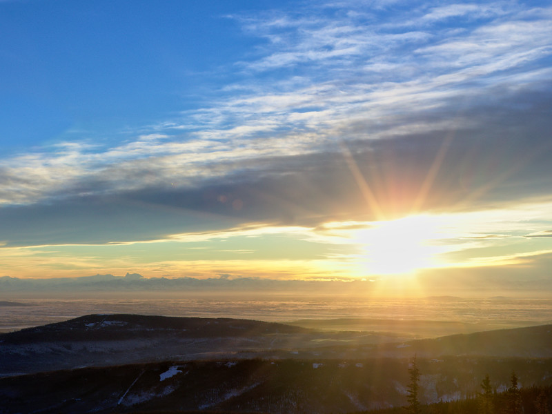 Taken at solar noon from Ester Dome on the winter solstice. That's as high as the Sun gets over the Tanana Valley on the shortest day of the year. You can see the outlines of Deborah and Hess in the Alaska Range on the left horizon.