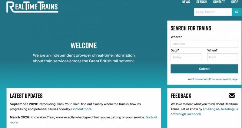 Realtime trains home page screenshot