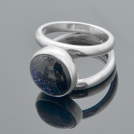 Birthstone Blue Goldstone Ring