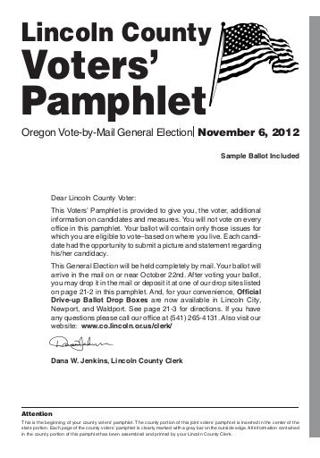 Oregon ballot voter information: sample  pamphlet