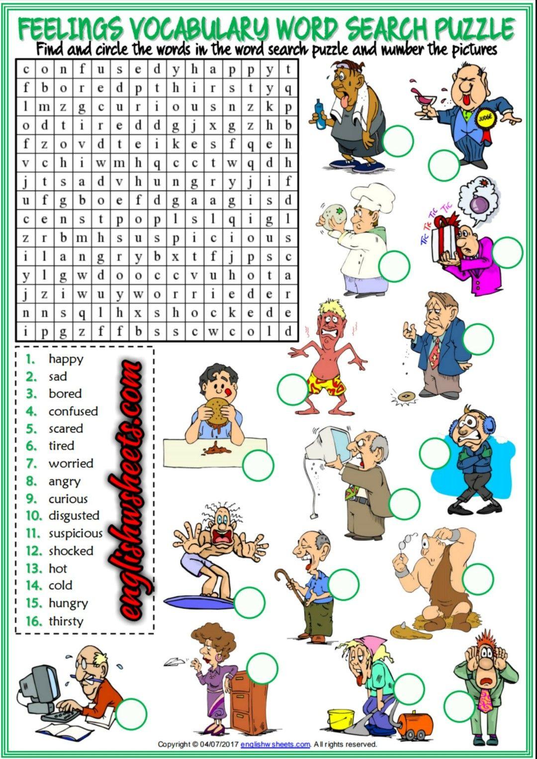 Feelings Amp Emotions Crossword Puzzle Worksheet