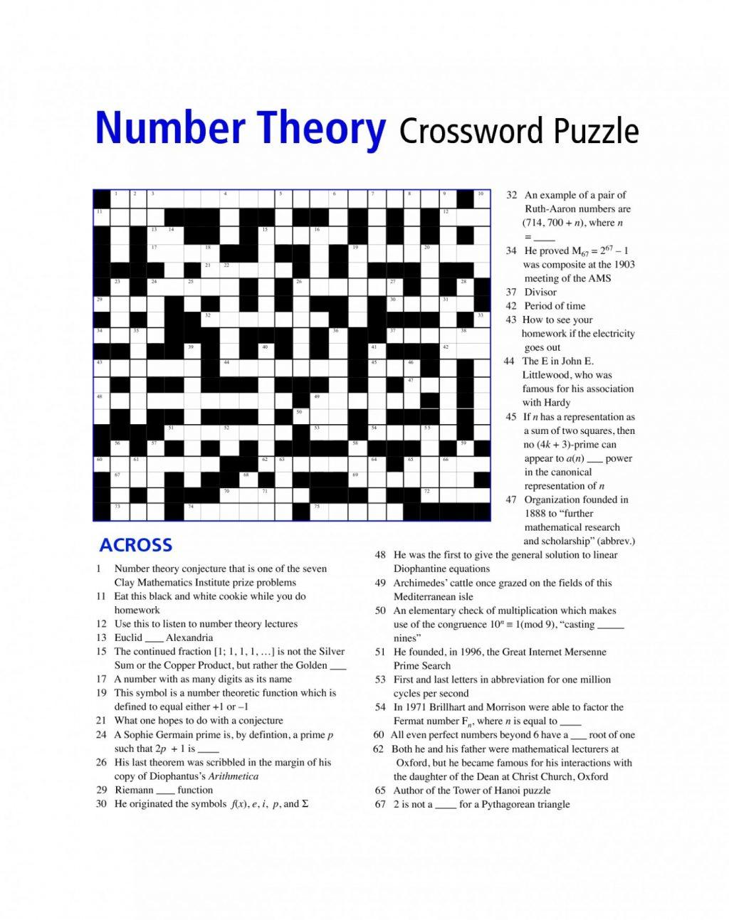Printable Math Puzzle 6th Grade