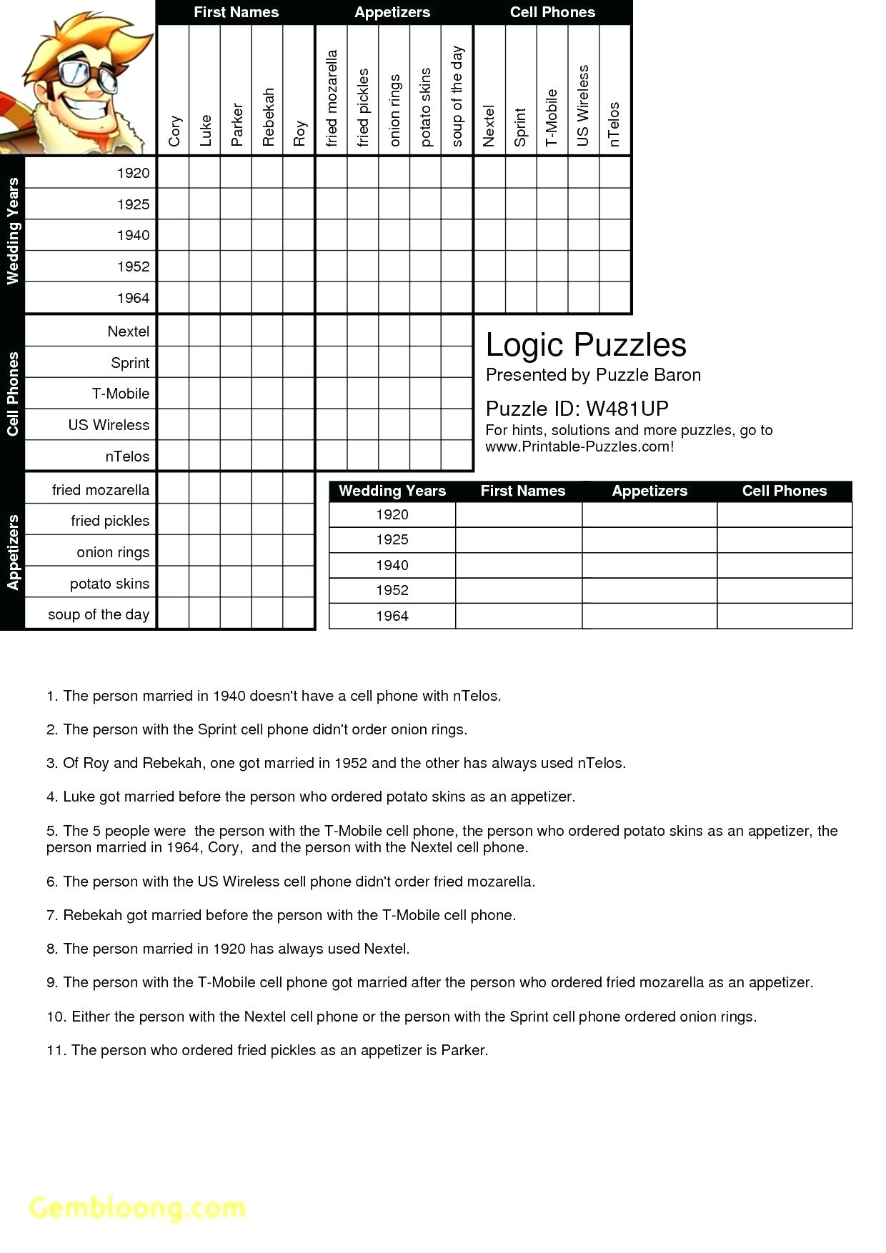Printable Logic Puzzle Grid Blank