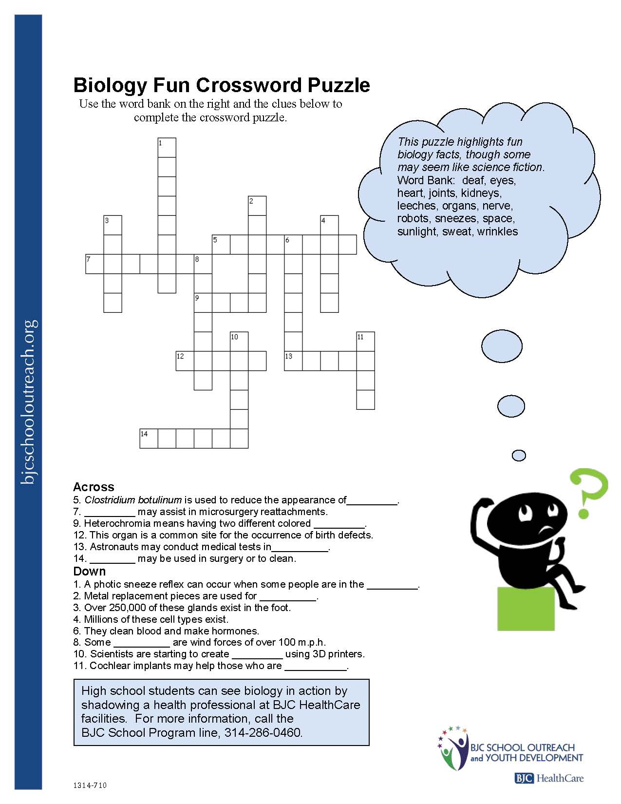 Health Crossword Puzzle Worksheet
