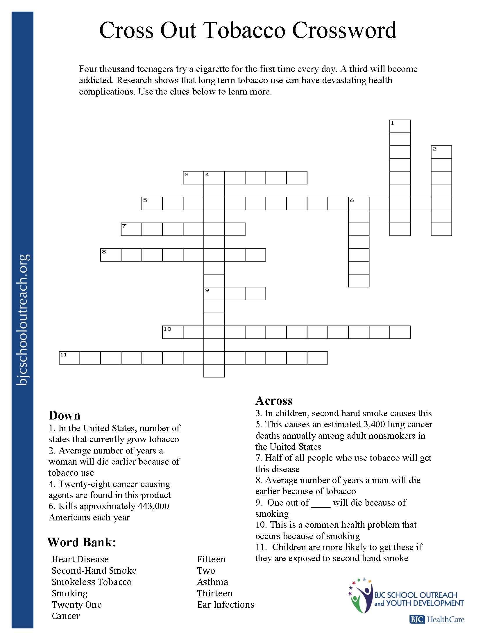Managing Stress Crossword