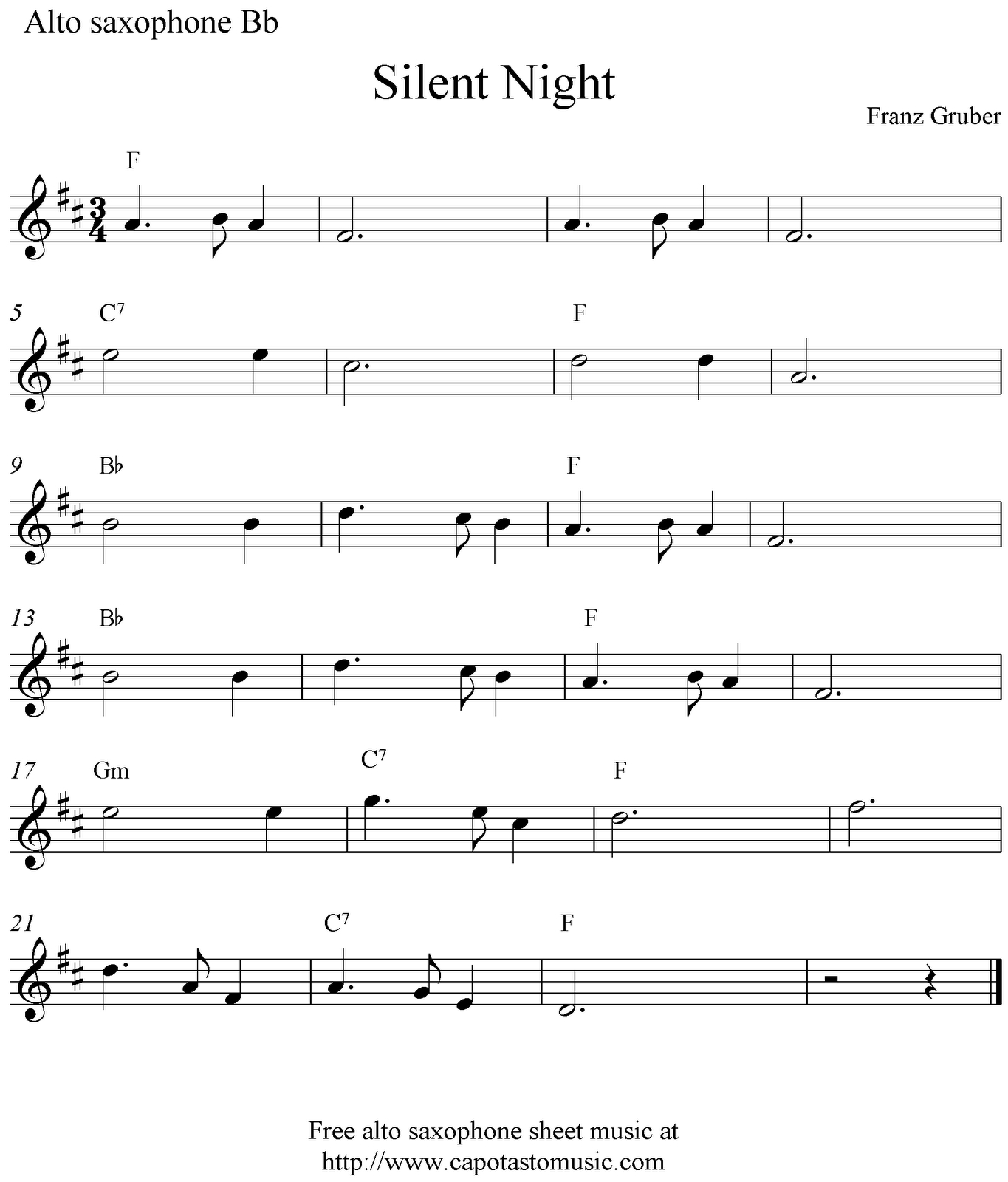 Free Printable Christmas Sheet Music For Alto Saxophone