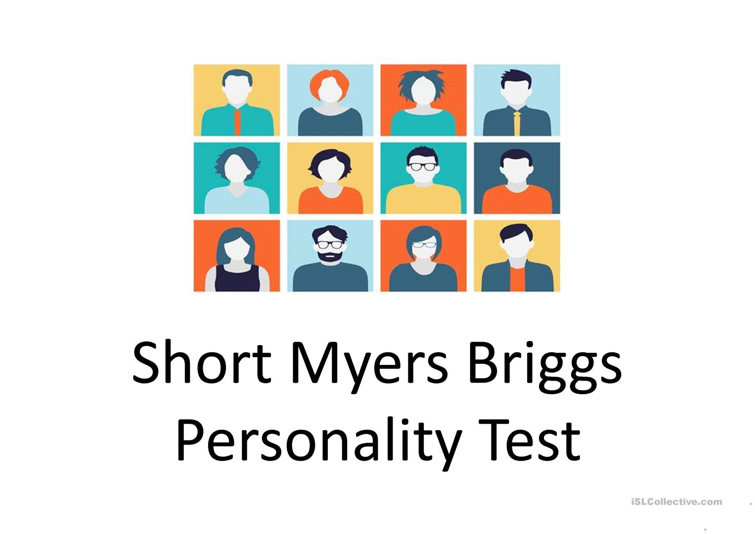 Personality Test Worksheet