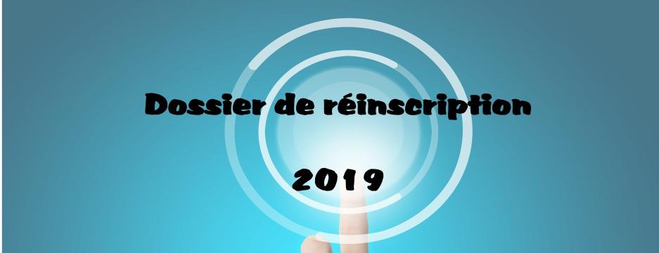 Dossiers de réinscription pour la rentrée 2019.