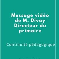 Message vidéo  de M. Divay / Continuité pédagogique