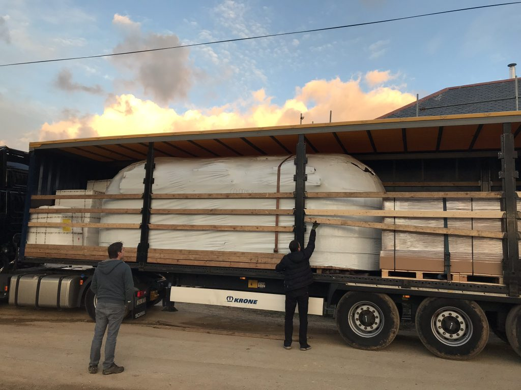 the smaller cabin arrives by lorry from Estonia